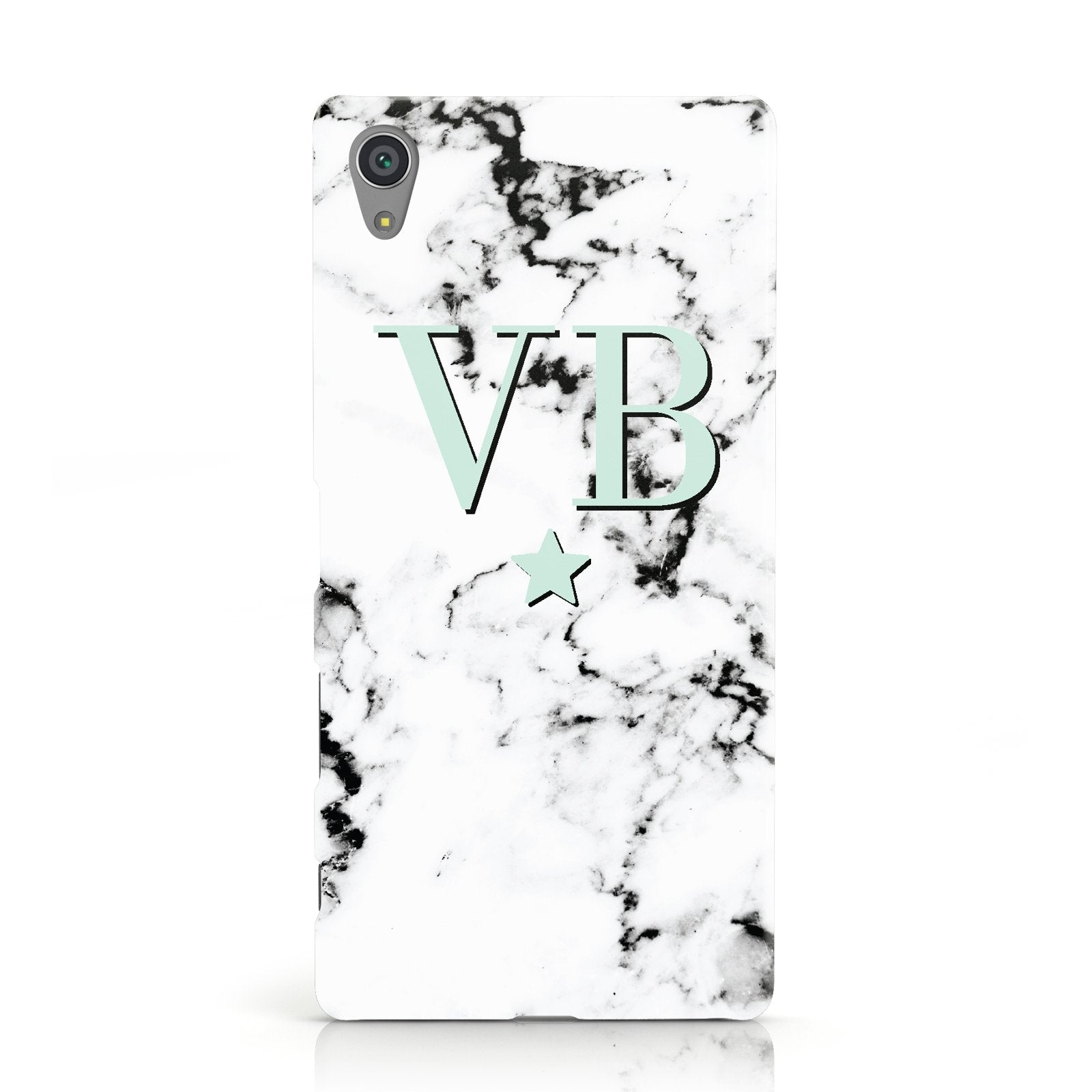 Personalised Mint Star With Monogram Marble Sony Xperia Case