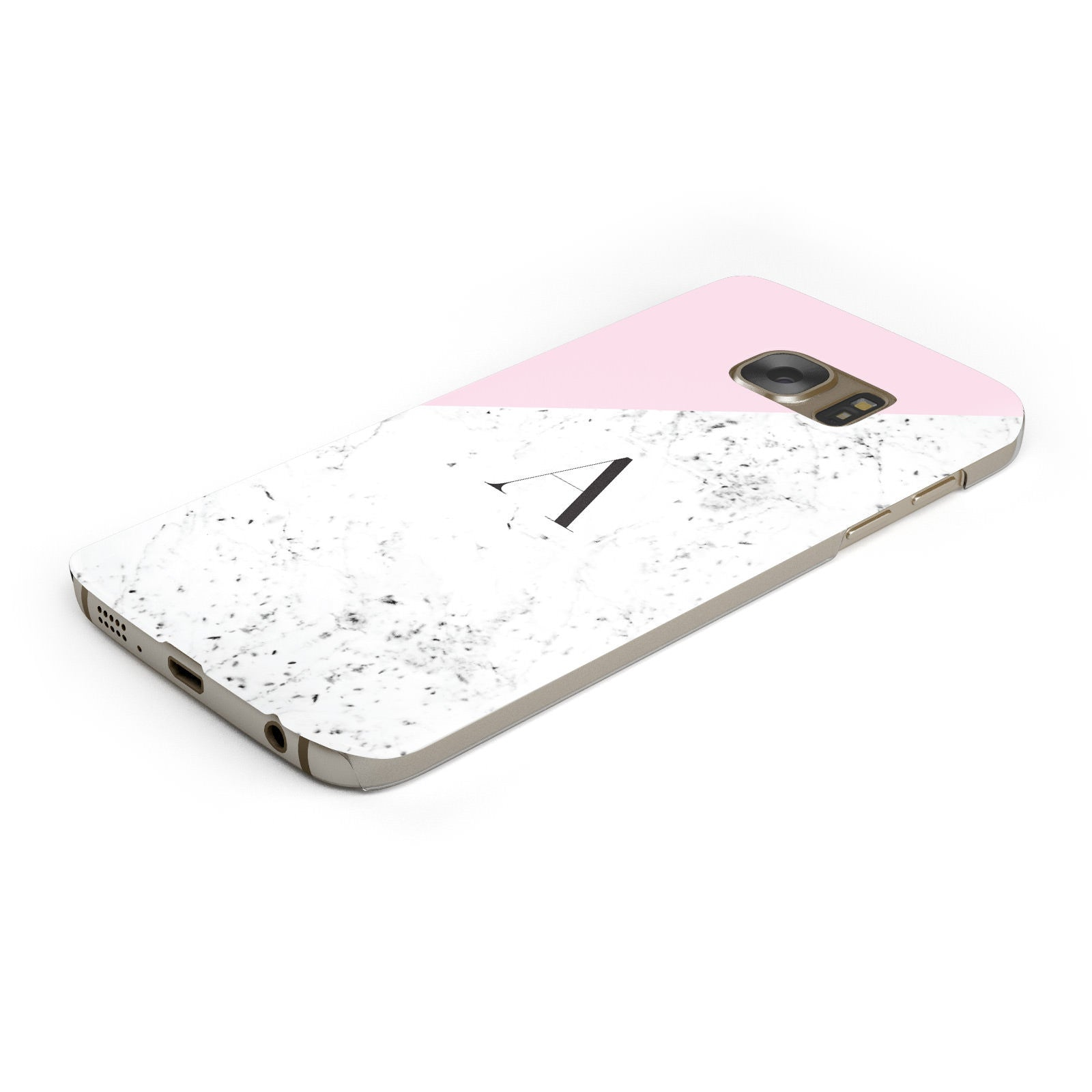 Personalised Monogram Initial Letter Marble Samsung Galaxy Case Bottom Cutout