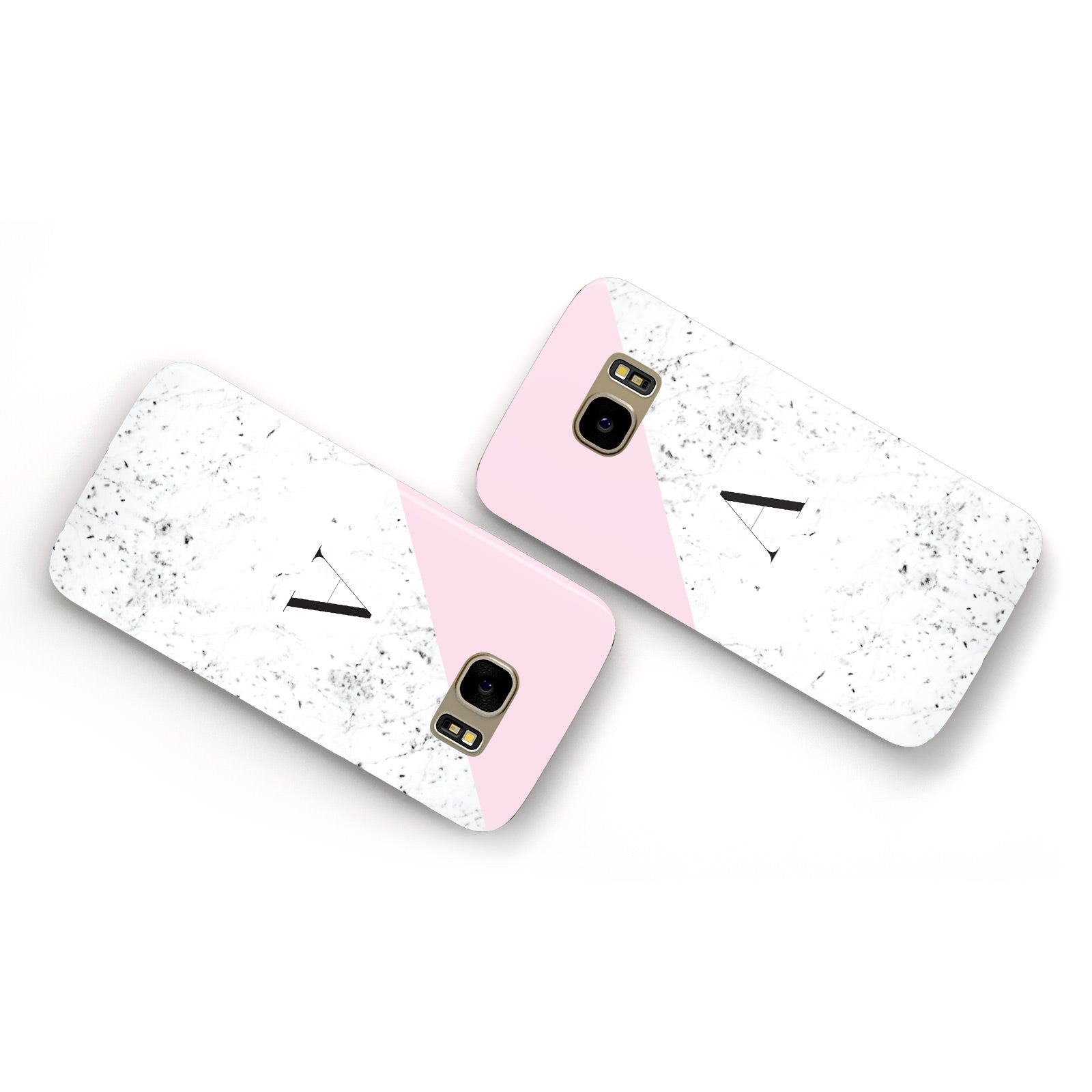 Personalised Monogram Initial Letter Marble Samsung Galaxy Case Flat Overview