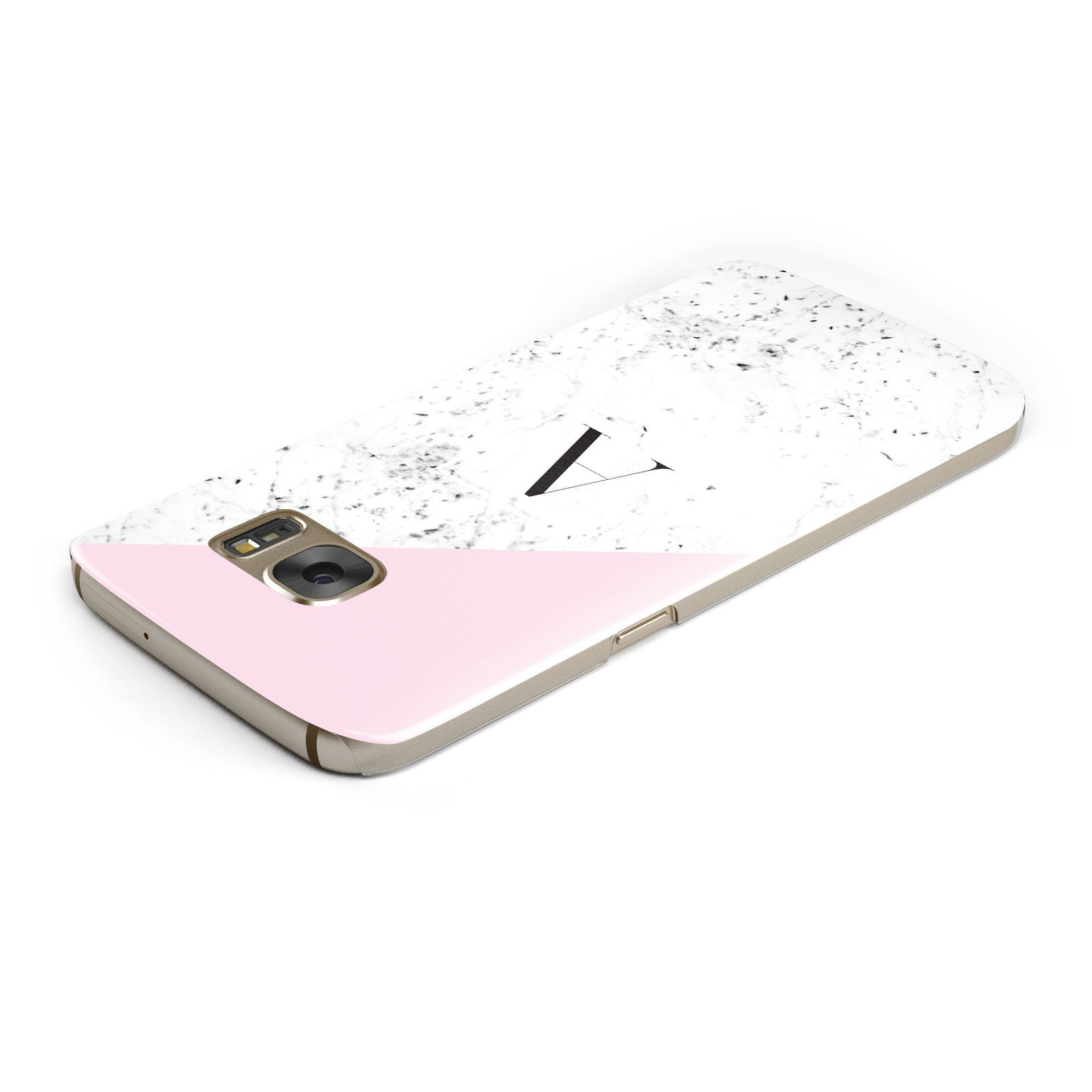 Personalised Monogram Initial Letter Marble Samsung Galaxy Case Top Cutout