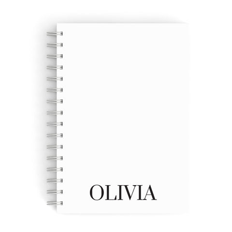 Name Personalised White A5 Hardcover Notebook