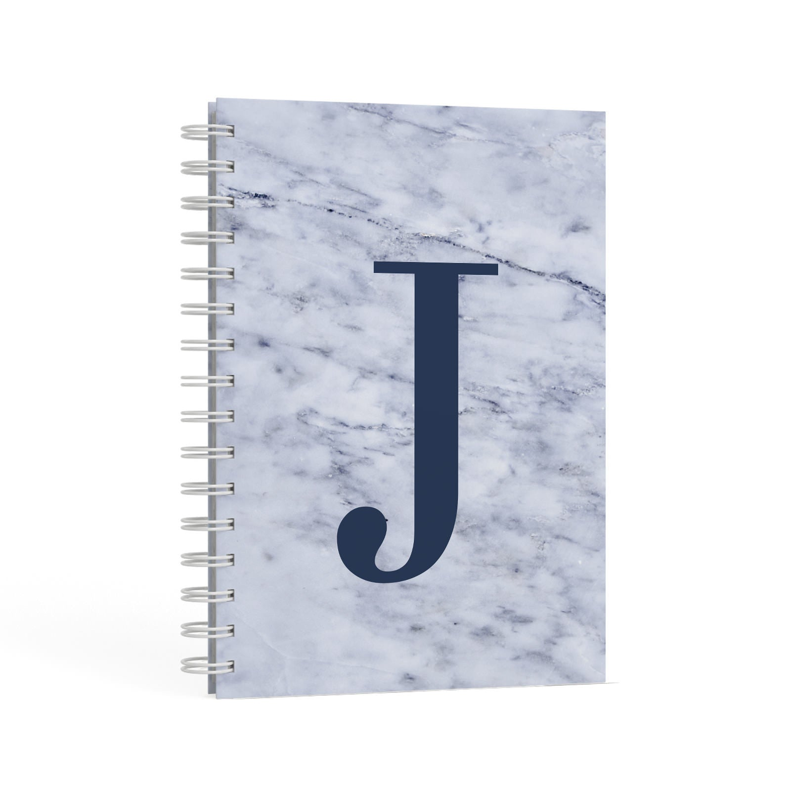 Navy Blue Single Initial A5 Hardcover Notebook Second Side View