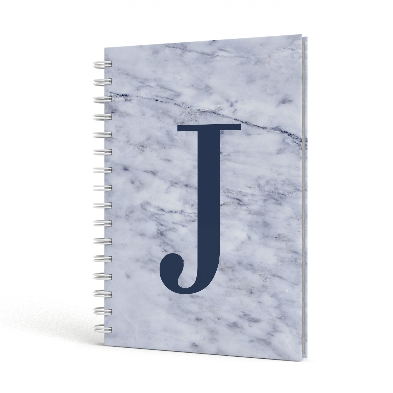Navy Blue Single Initial A5 Hardcover Notebook Side View