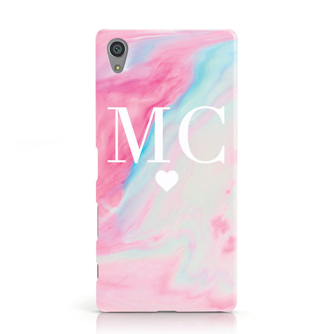 Personalised Pastel Marble & Initials Sony Xperia Case