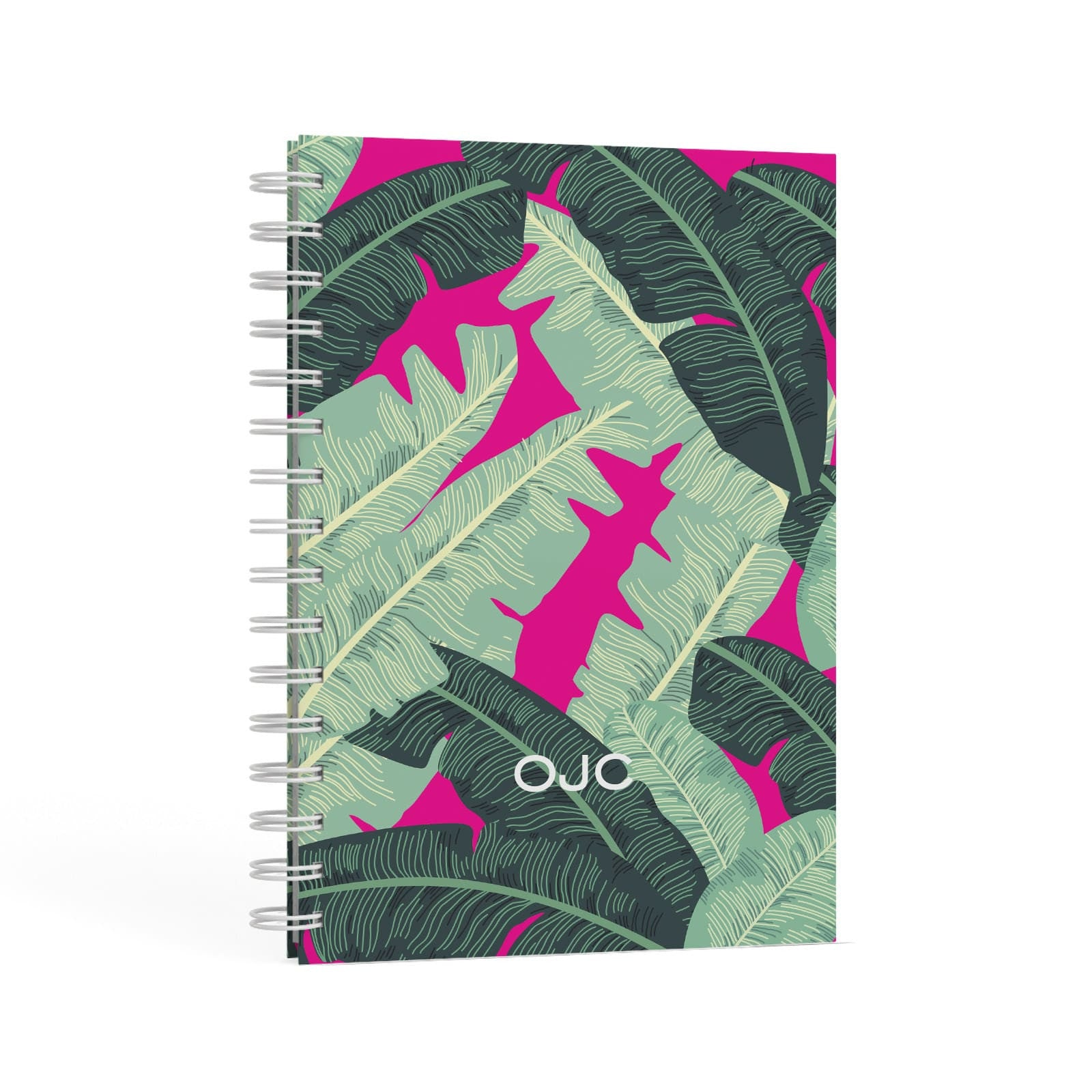 Personalised Banana Leaves A5 Hardcover Notebook Second Side View