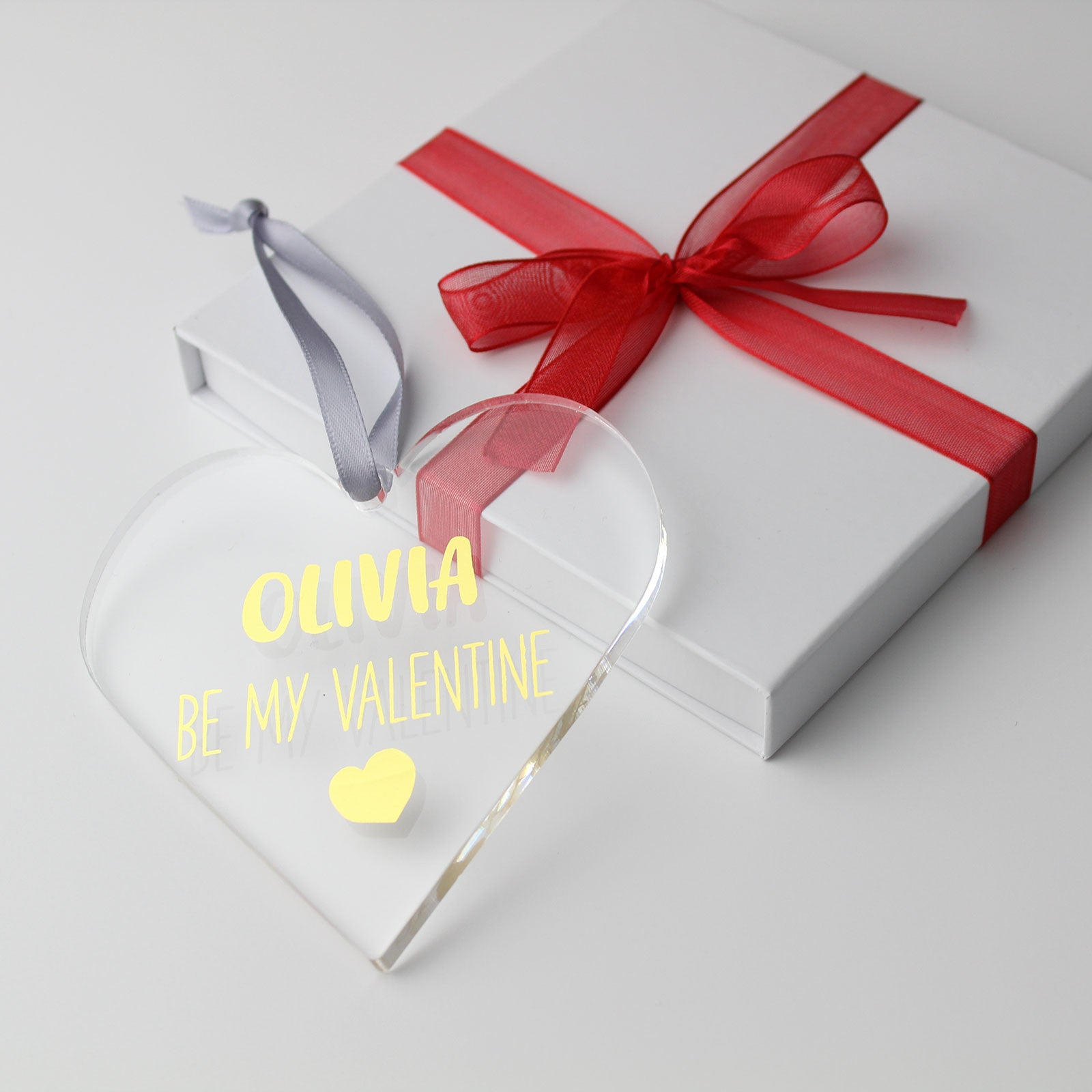 Personalised Name Be My Valentine Foiled Heart in Gift Box
