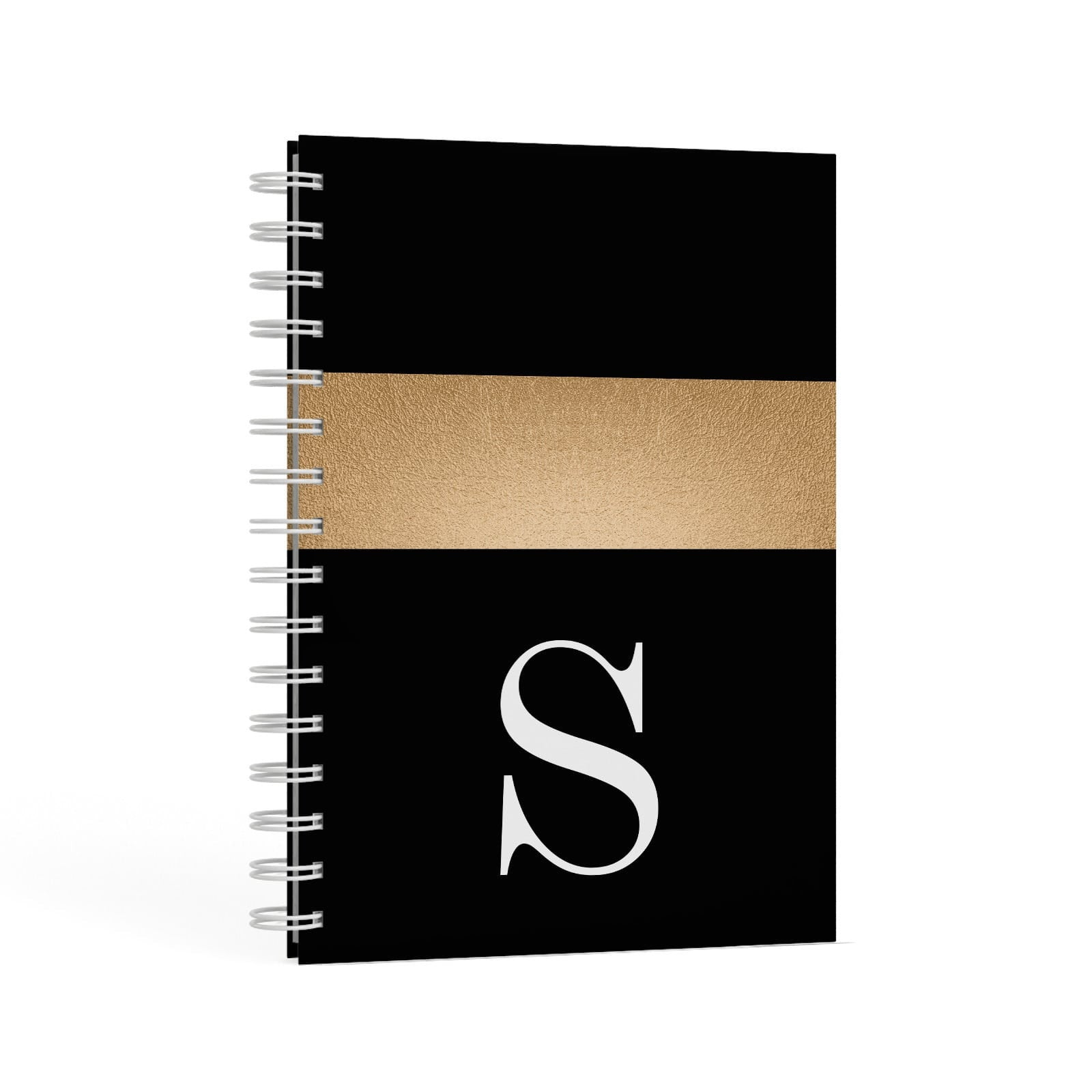 Personalised Black & Gold Monogram Initial A5 Hardcover Notebook Second Side View