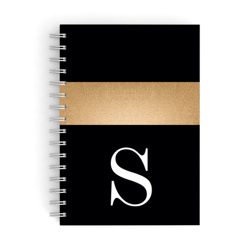 Personalised Black & Gold Monogram Initial A5 Hardcover Notebook