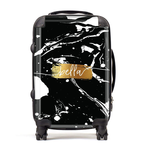 Personalised Black & Gold Swirl Marble Suitcase