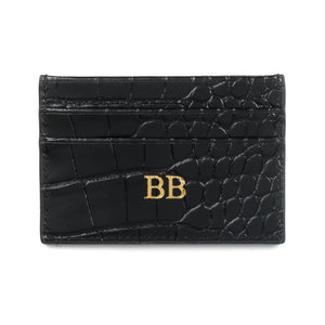 Personalised Black Croc Leather Card Holder