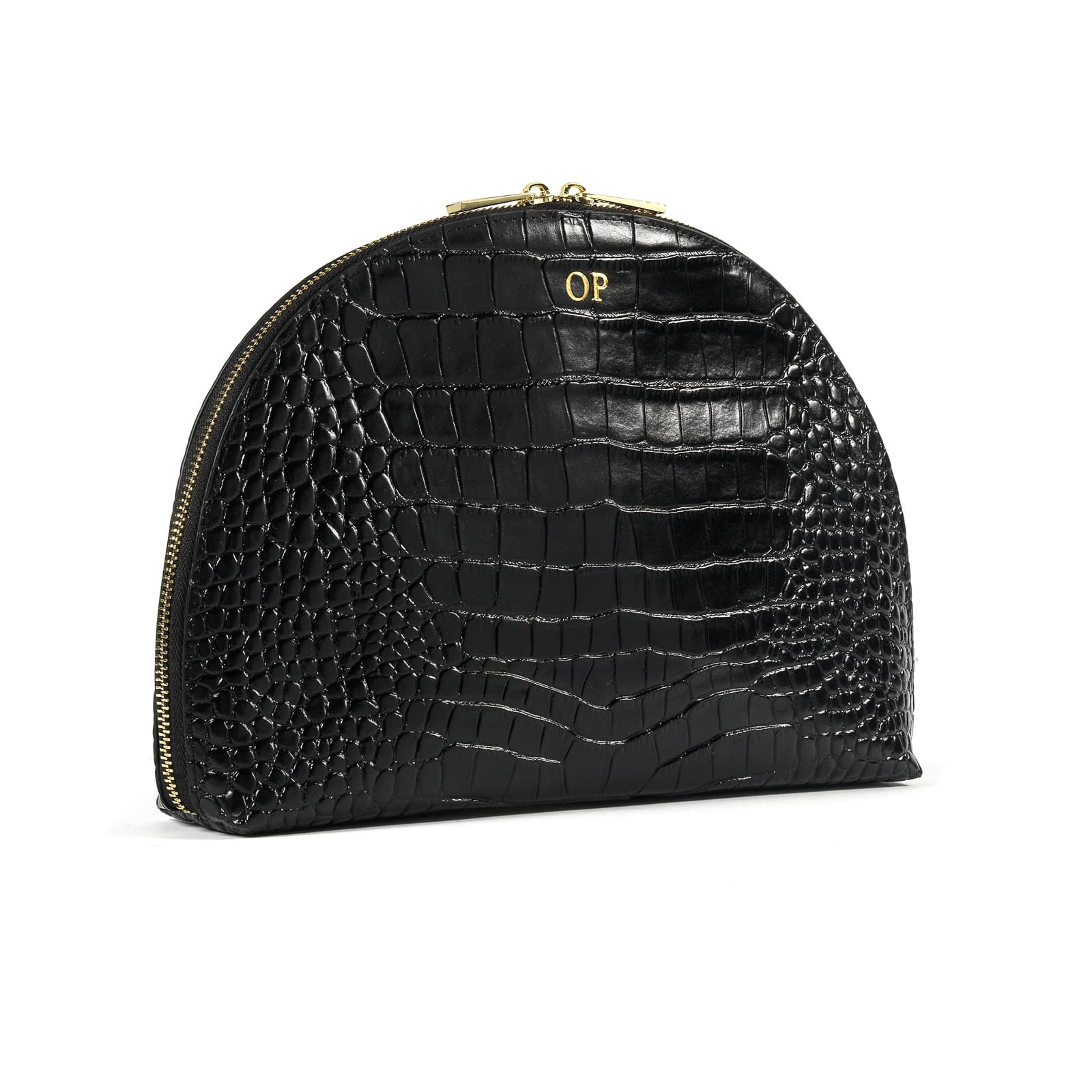 Personalised Black Croc Leather Half Moon Clutch side image
