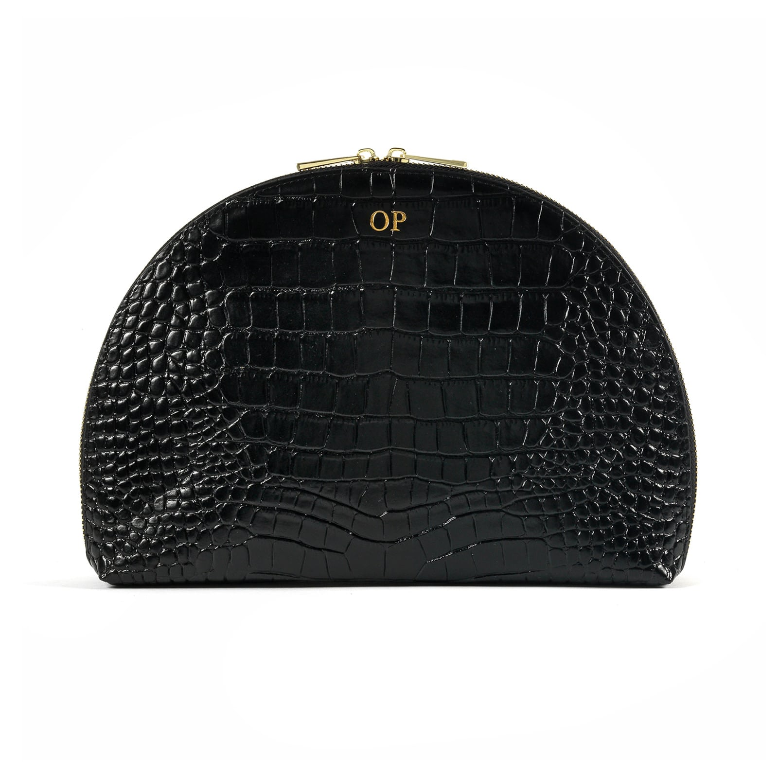 Personalised Black Croc Leather Half Moon Clutch