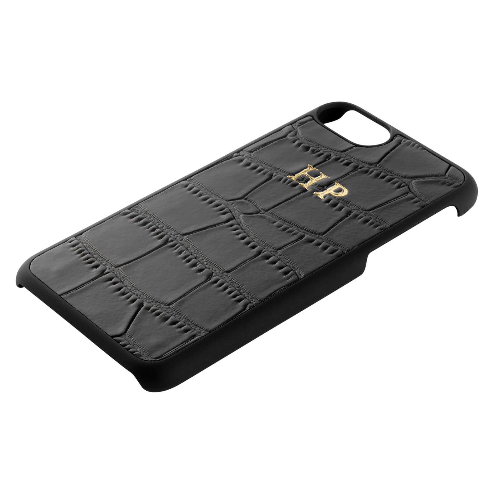 Personalised Black Croc Leather iPhone Case Side Angle