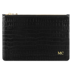Personalised Black Croc Leather Pouch