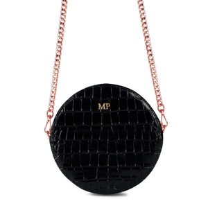 Personalised Black Croc Leather Round Crossbody Bag