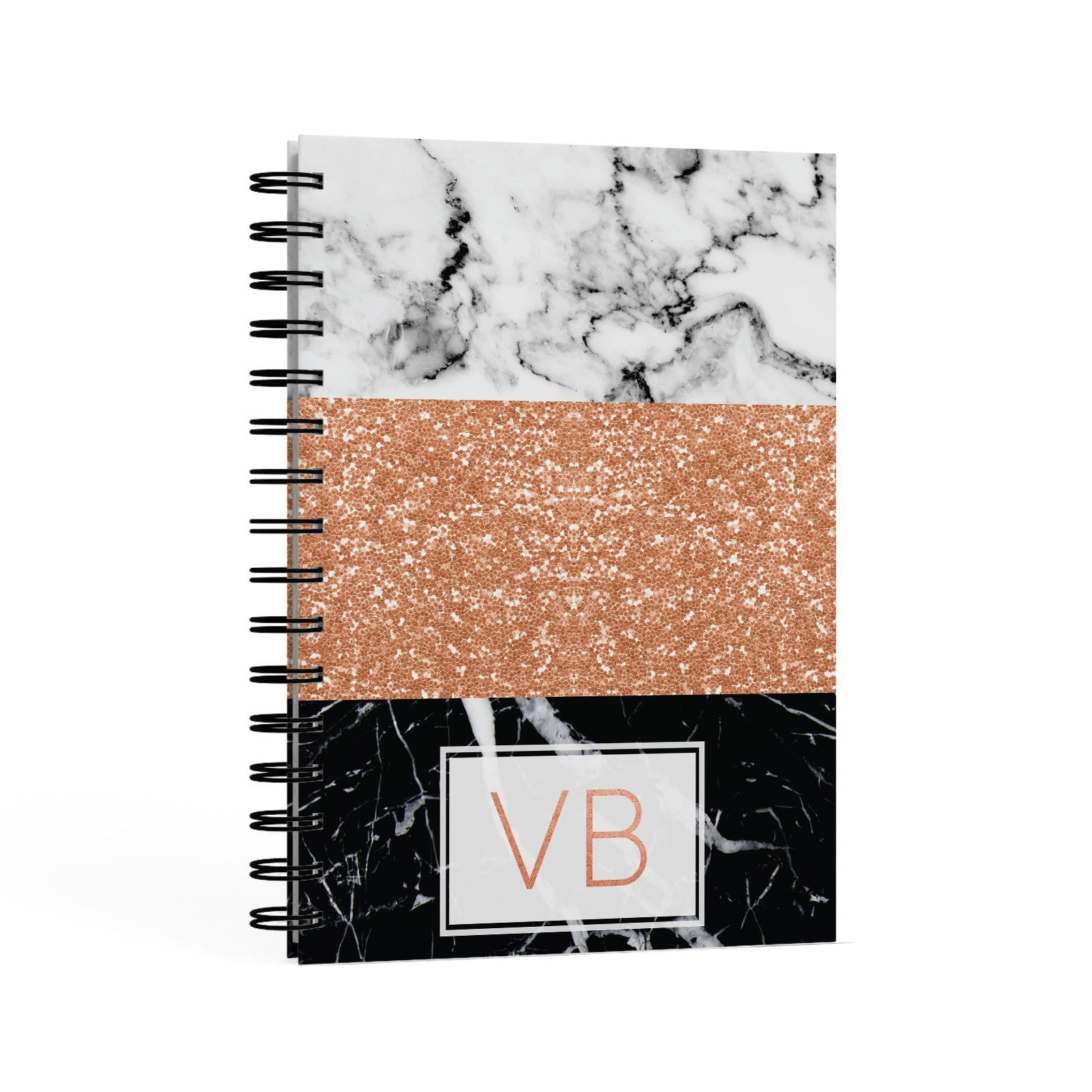 Personalised Black Marble Initials A5 Hardcover Notebook Second Side View