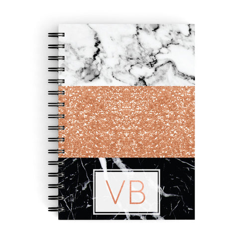 Personalised Black Marble Initials A5 Hardcover Notebook