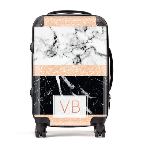 Personalised Black Marble Initials Suitcase