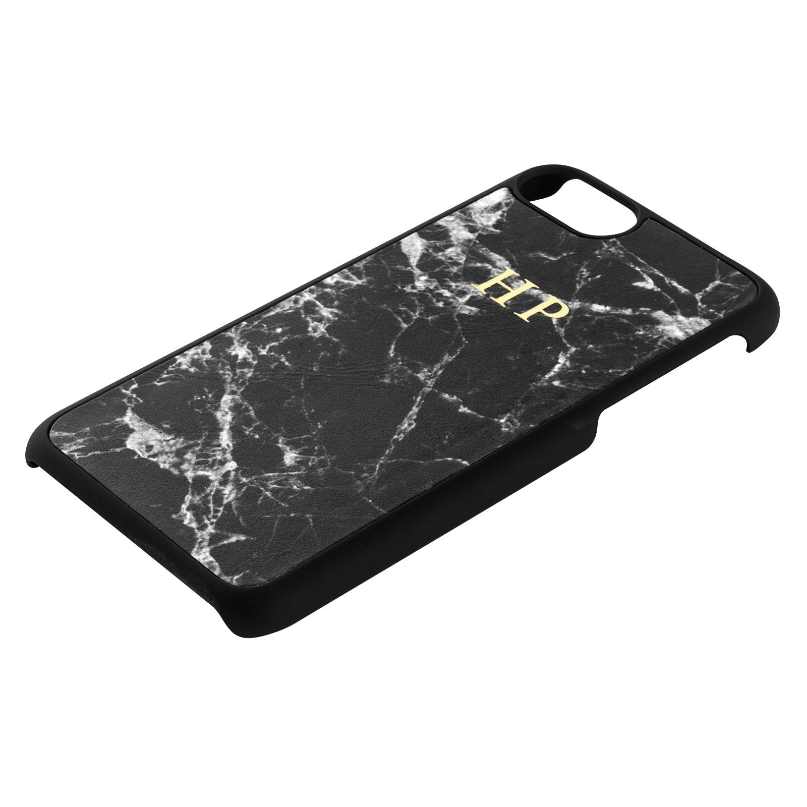Personalised Black Marble Leather iPhone Case Side Angle