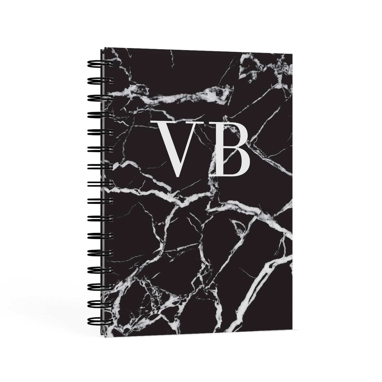 Personalised Black Marble Monogram A5 Hardcover Notebook Second Side View