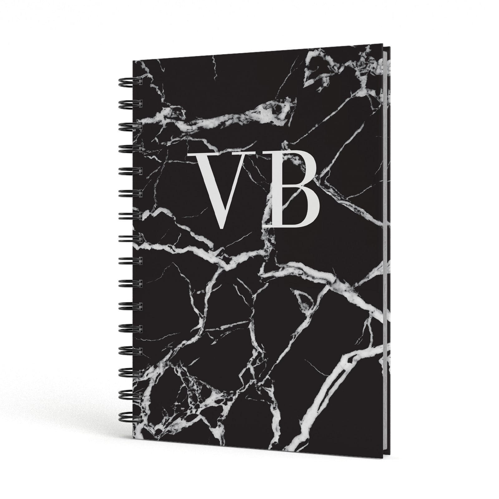 Personalised Black Marble Monogram A5 Hardcover Notebook Side View