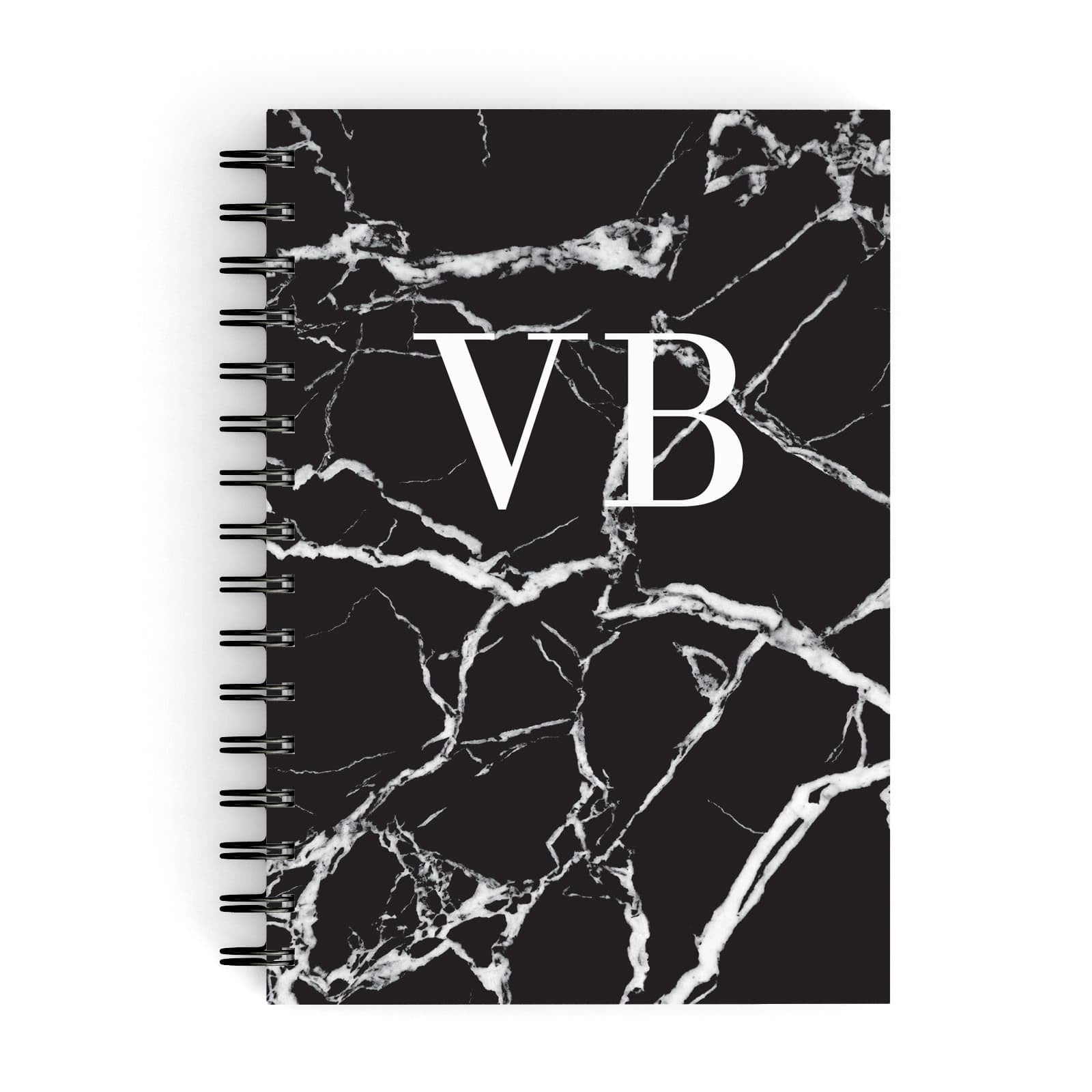 Personalised Black Marble Monogram A5 Hardcover Notebook