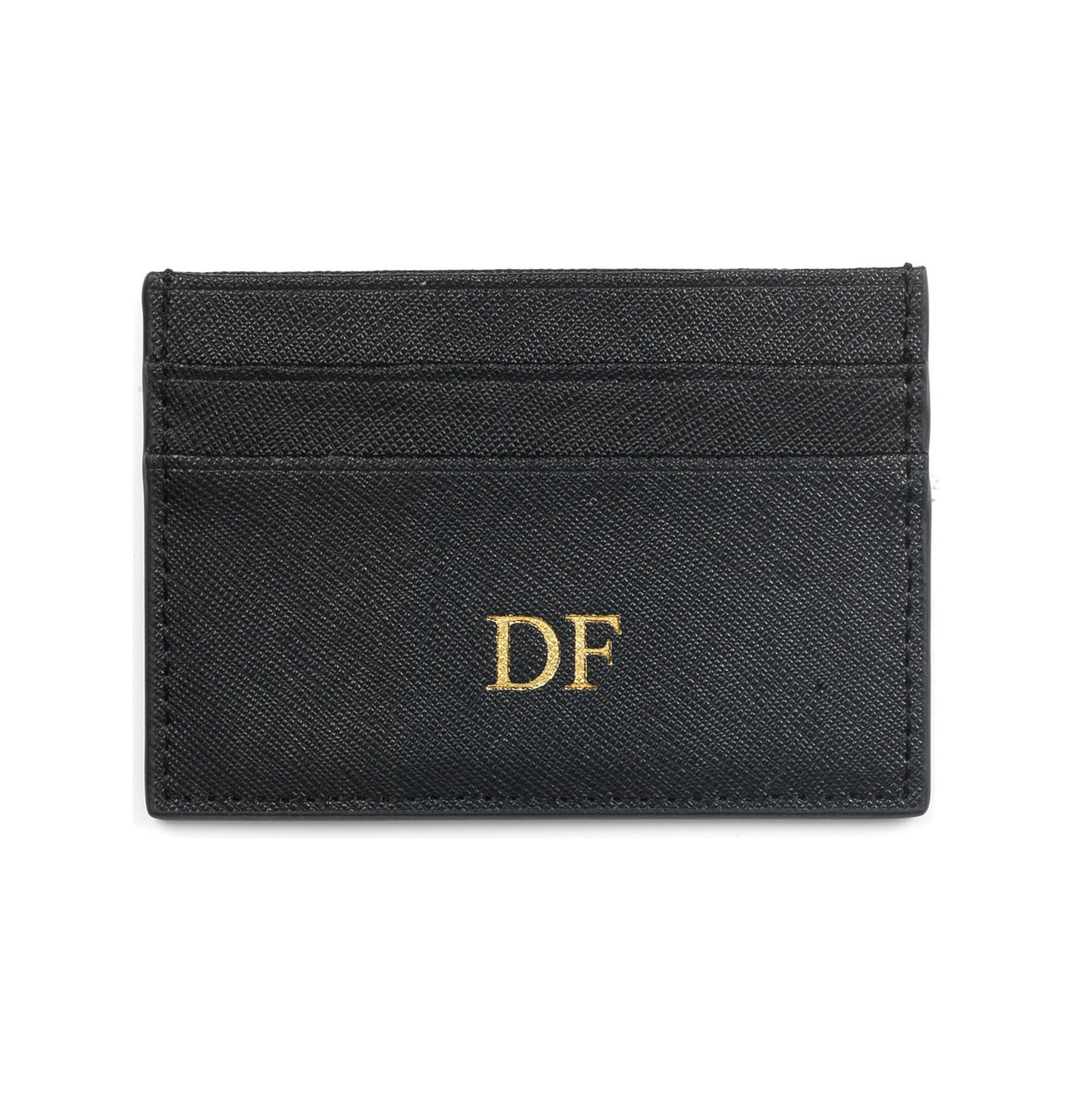 Personalised Black Saffiano Leather Card Holder