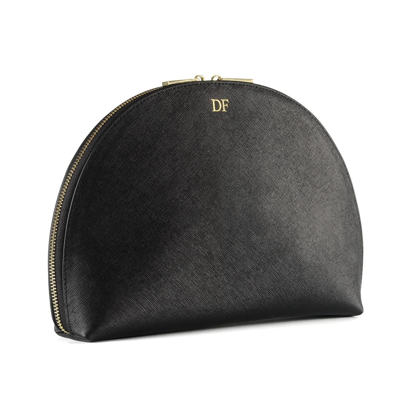 Personalised Black Saffiano Leather Half Moon Clutch side image