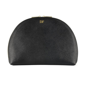 Personalised Black Saffiano Leather Half Moon Clutch