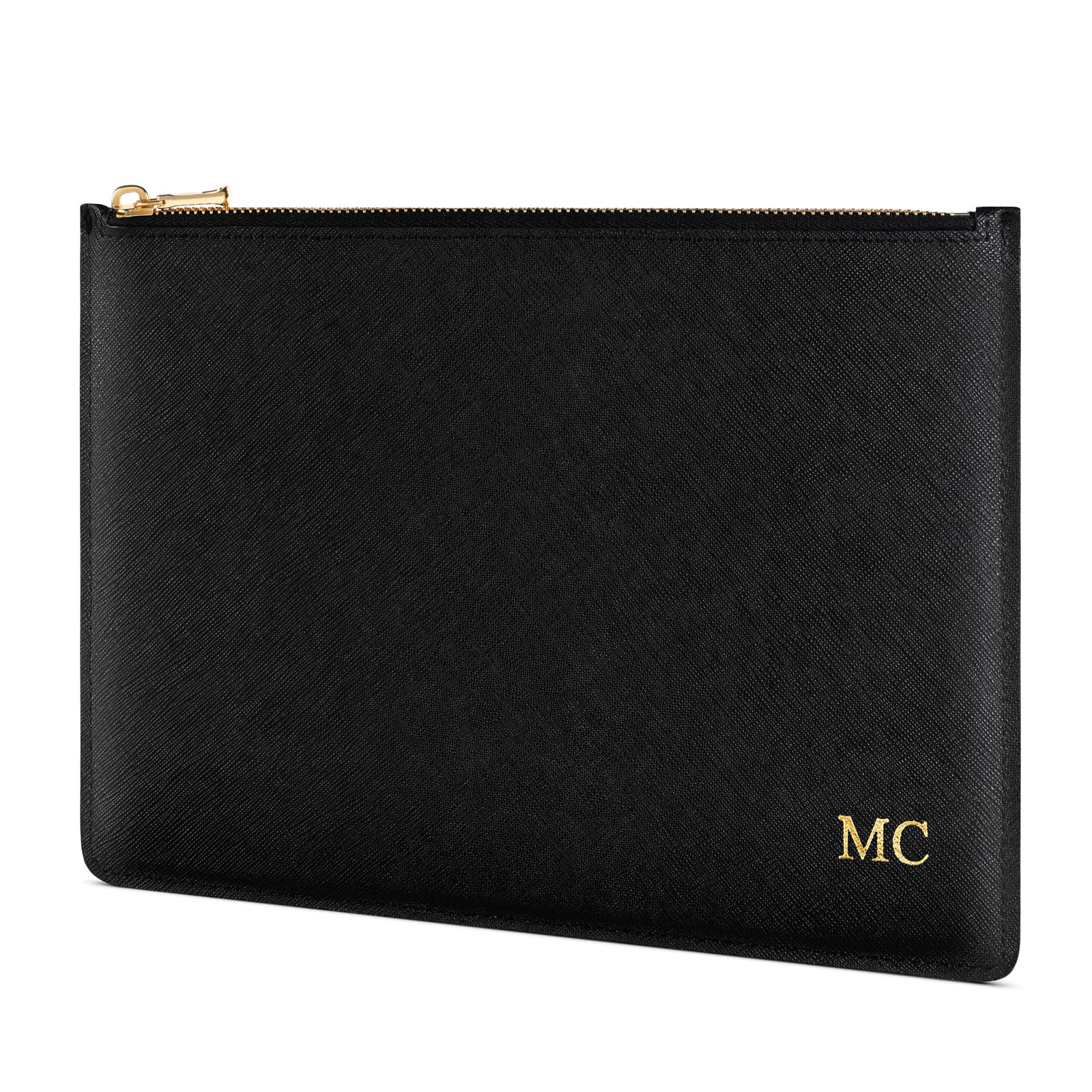 Personalised Black Saffiano Leather Pouch Side Angle