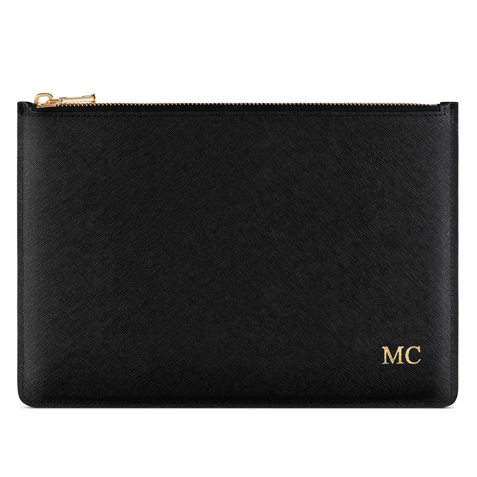 Personalised Black Saffiano Leather Pouch