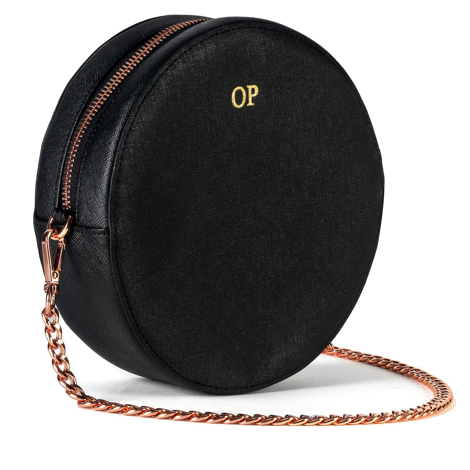 Personalised Black Saffiano Leather Round Crossbody Bag Side Image