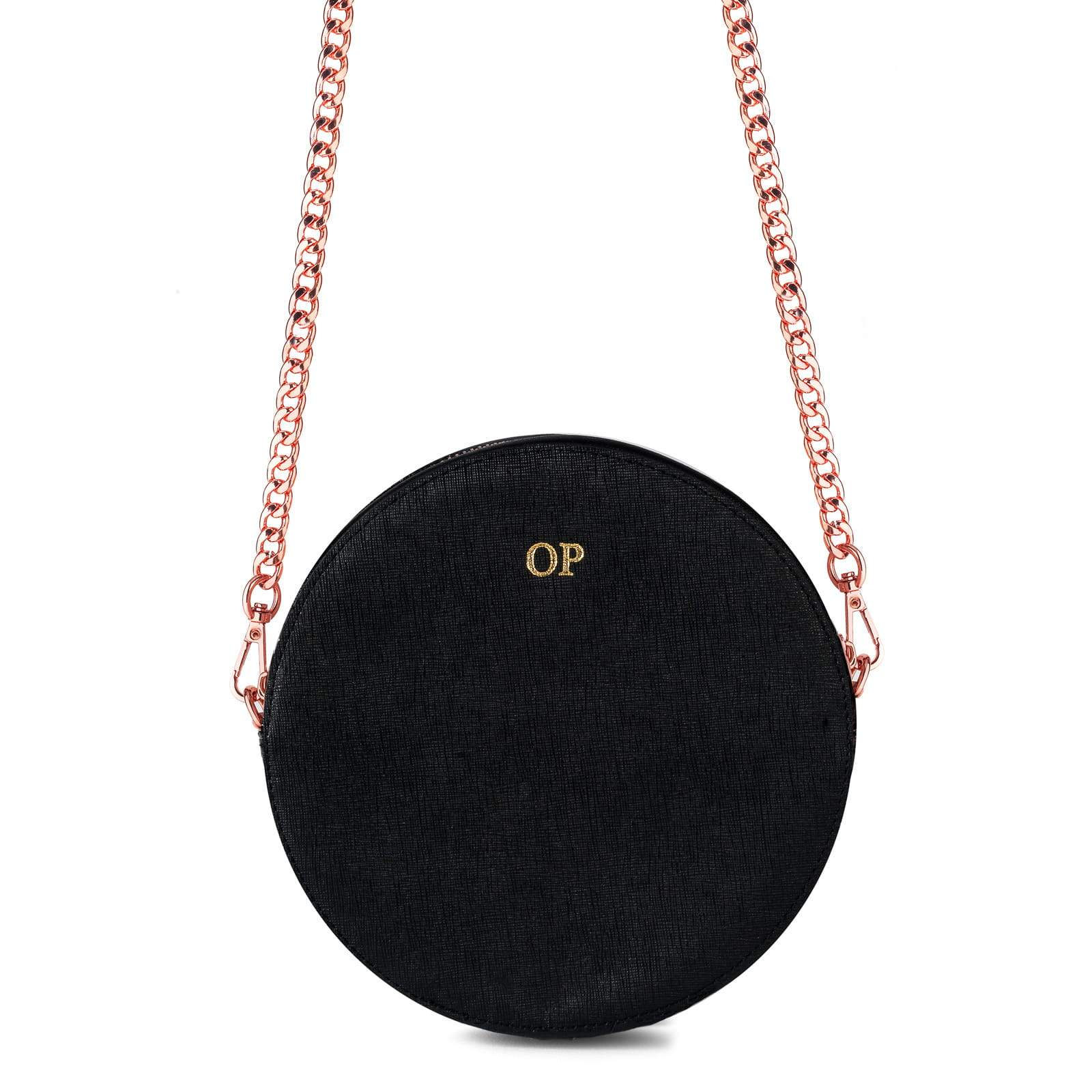 Personalised Black Saffiano Leather Round Crossbody Bag