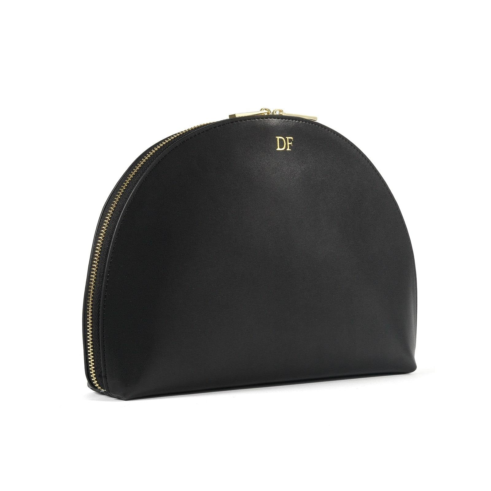 Personalised Black Smooth Leather Half Moon Clutch side image