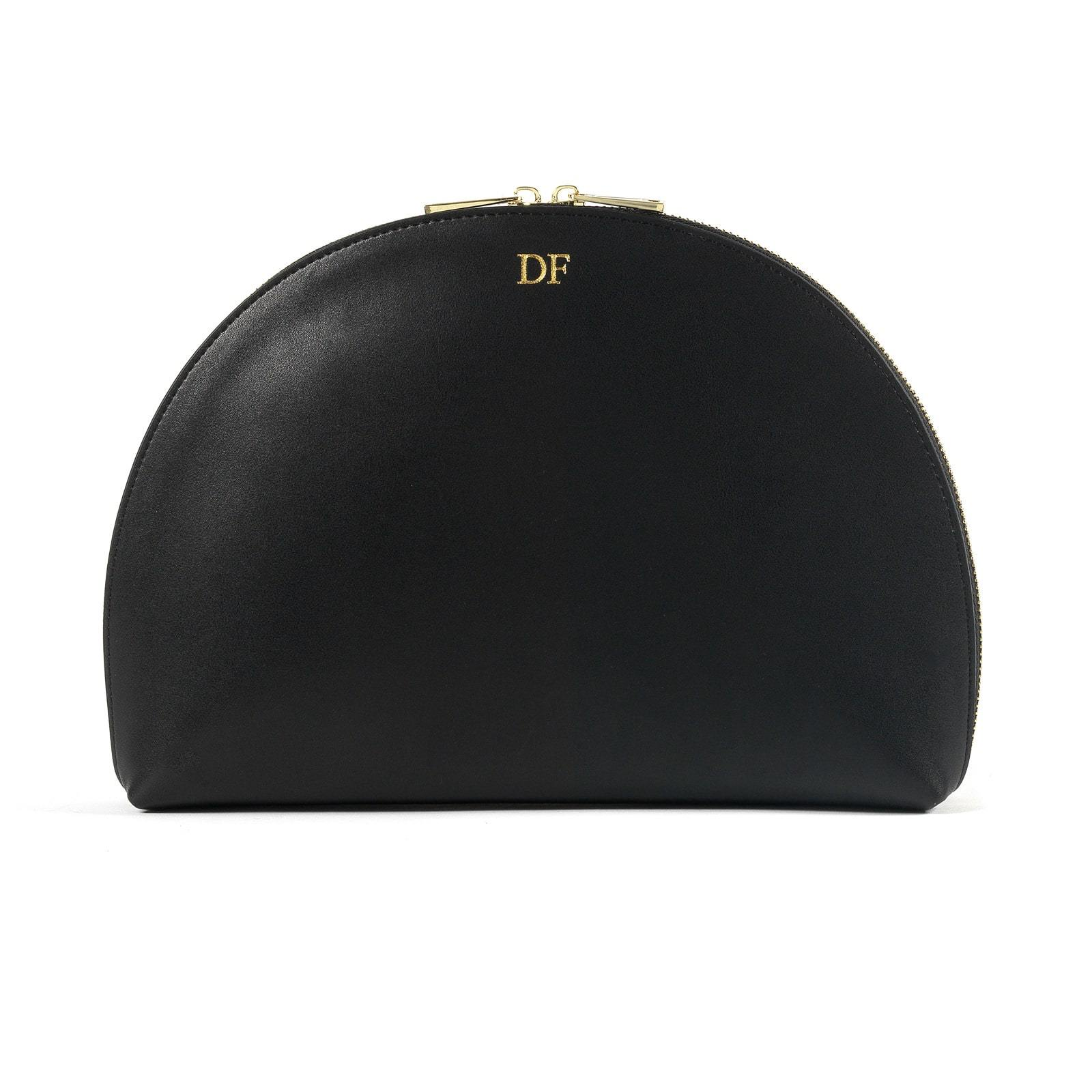Personalised Black Smooth Leather Half Moon Clutch