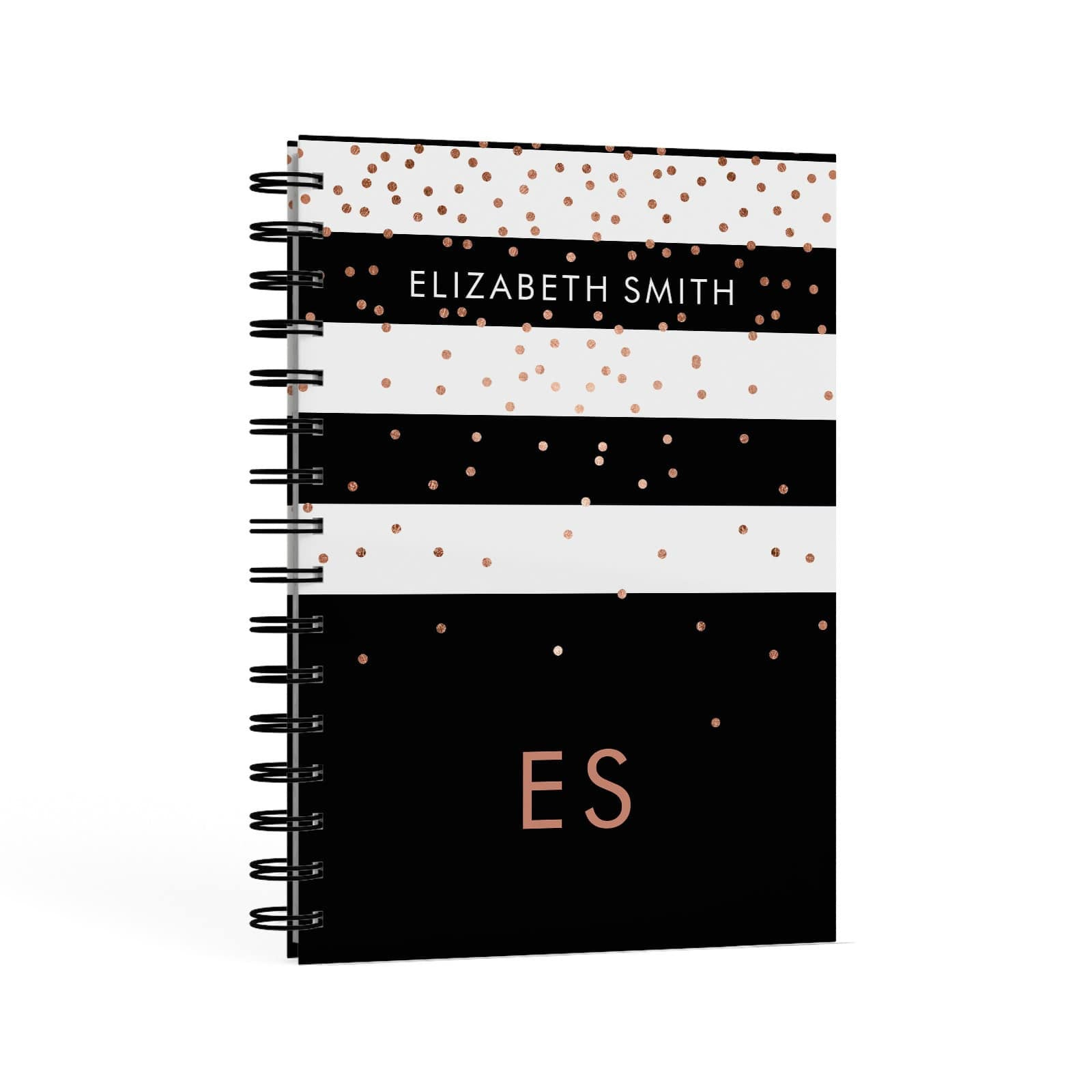 Personalised Black Striped Name Initials A5 Hardcover Notebook Second Side View