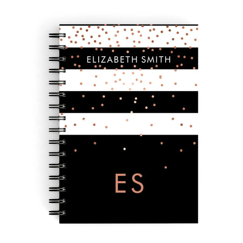 Personalised Black Striped Name Initials A5 Hardcover Notebook