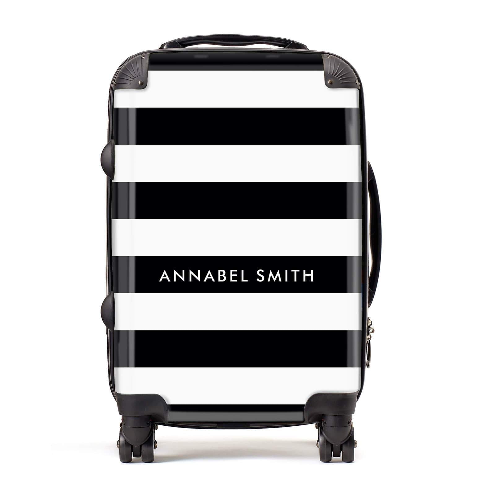 Personalised Black Striped Name or Initials Suitcase