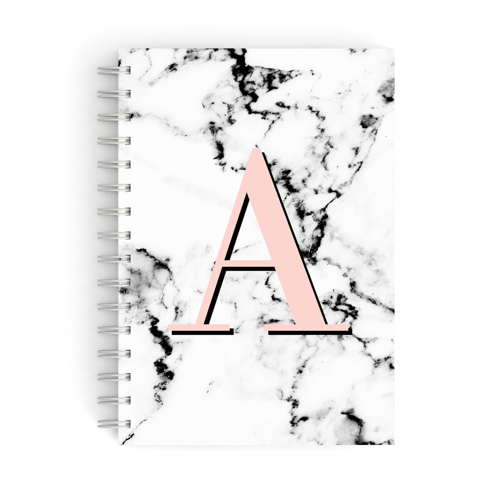 Personalised Block Coral Monogram Marble A5 Hardcover Notebook
