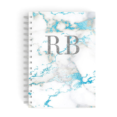 Personalised Blue Marble Initials A5 Hardcover Notebook
