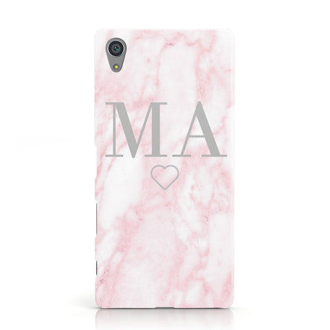 Personalised Blush Marble Initials Sony Xperia Case