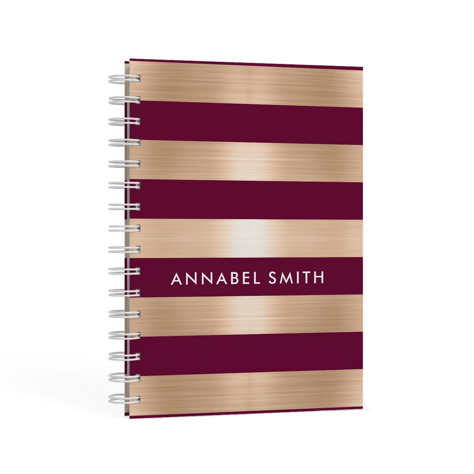Personalised Burgundy Gold Name Initials A5 Hardcover Notebook Second Side View