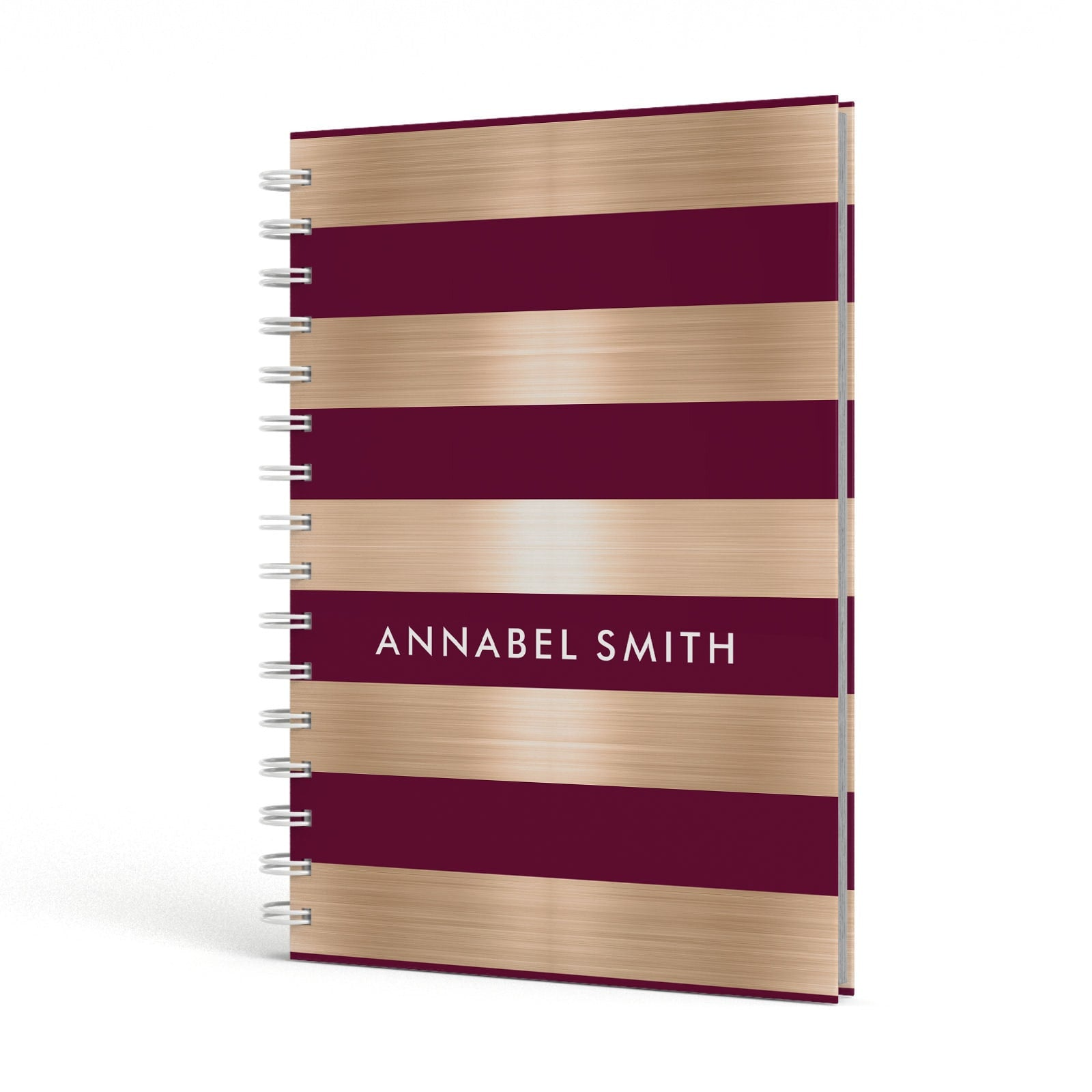 Personalised Burgundy Gold Name Initials A5 Hardcover Notebook Side View