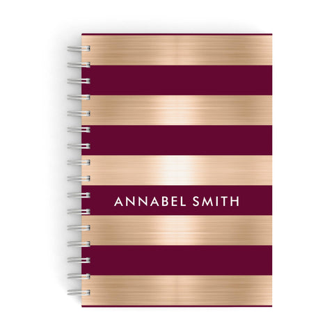 Personalised Burgundy Gold Name Initials A5 Hardcover Notebook