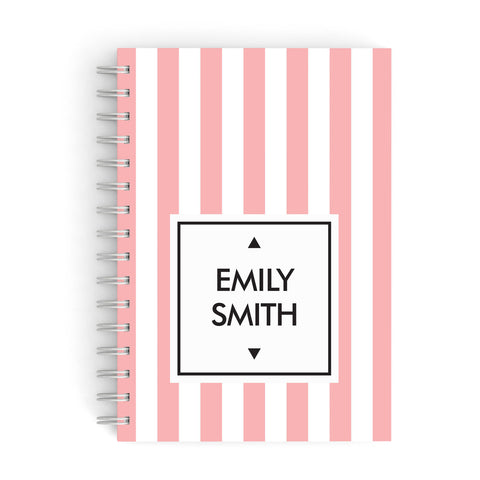 Personalised Candy Striped Name Initials A5 Hardcover Notebook