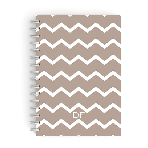Personalised Chevron Beige A5 Hardcover Notebook