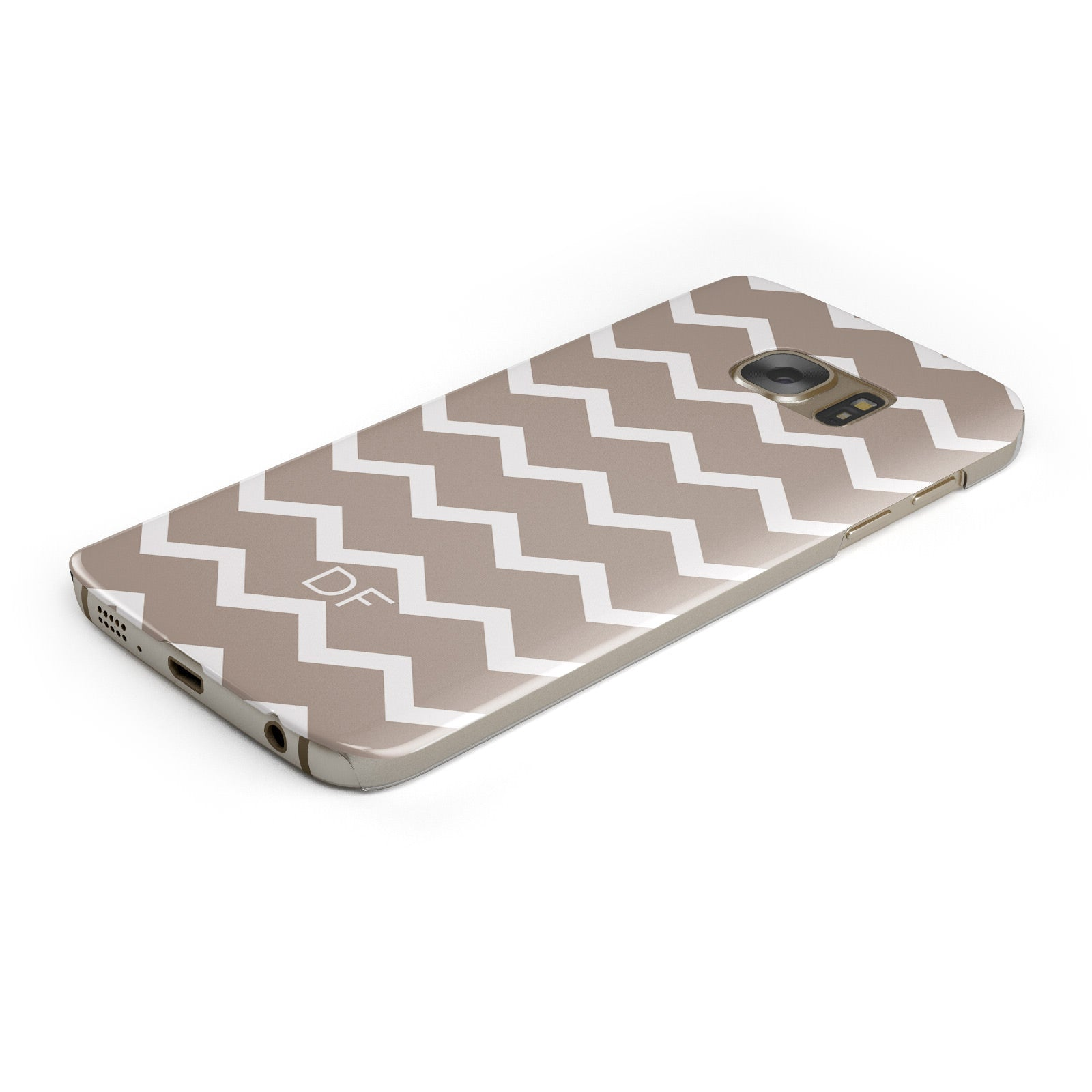 Personalised Chevron Beige Samsung Galaxy Case Bottom Cutout