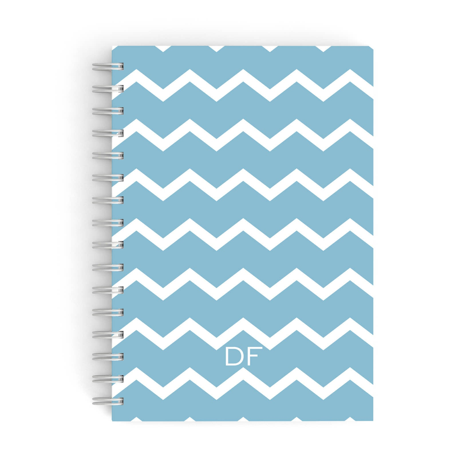 Personalised Chevron Blue A5 Hardcover Notebook