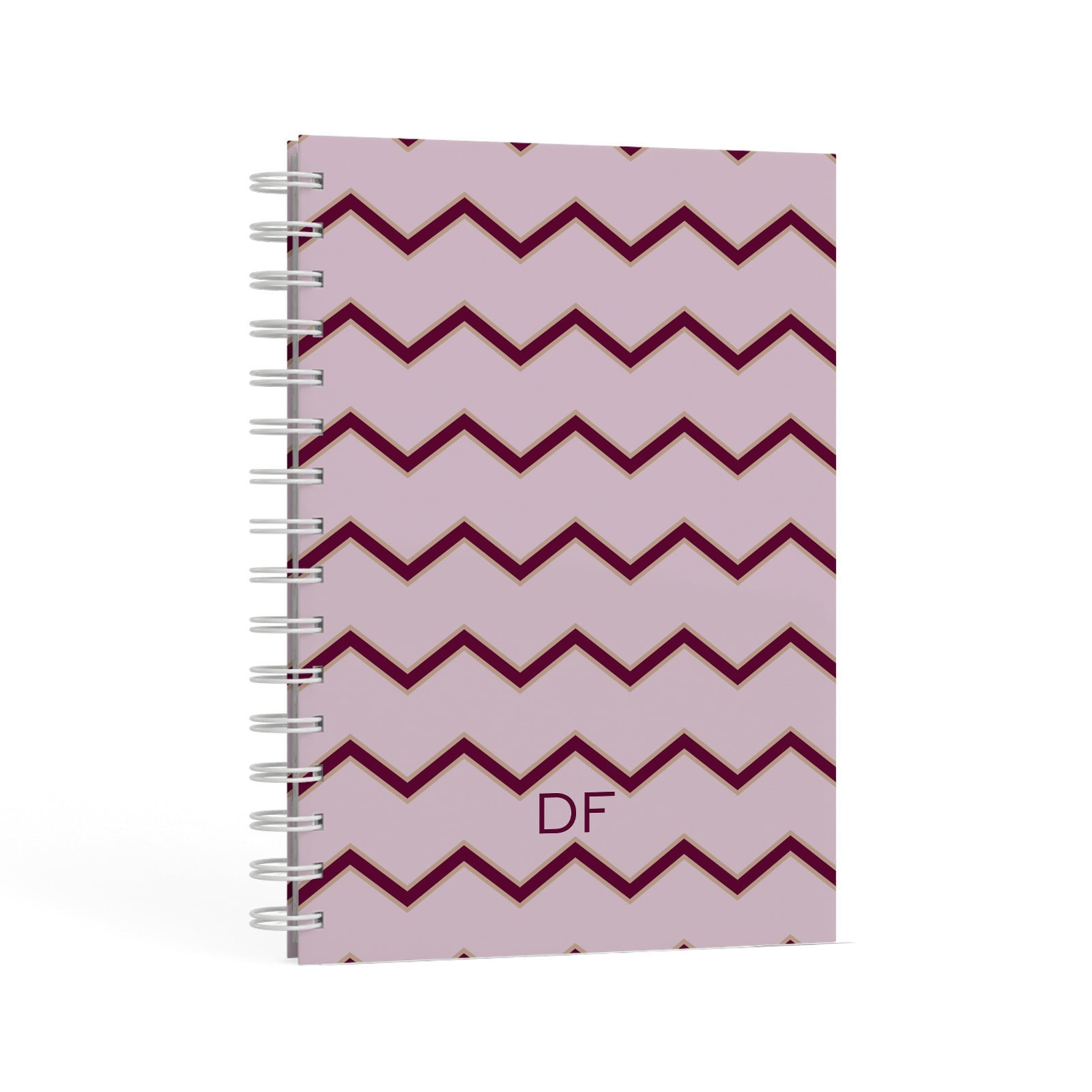 Personalised Chevron Burgundy A5 Hardcover Notebook Second Side View