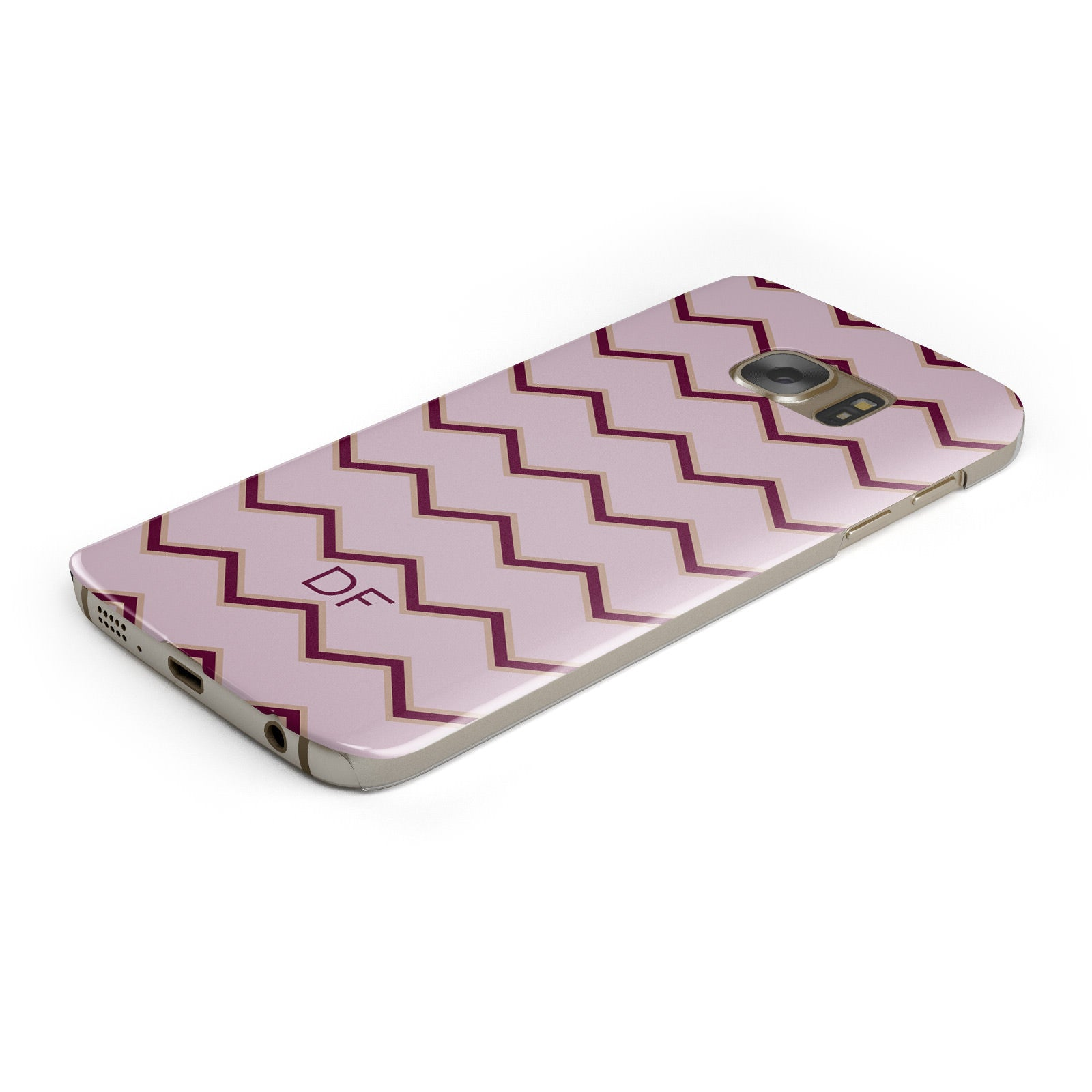 Personalised Chevron Burgundy Samsung Galaxy Case Bottom Cutout